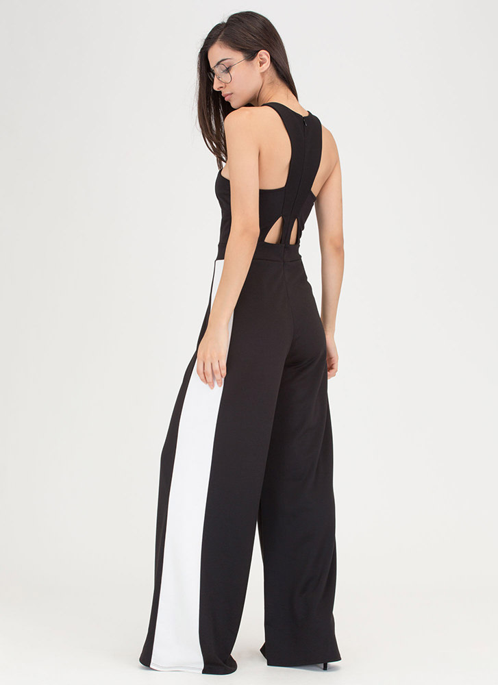 Racer To The Finish Palazzo Jumpsuit BLACKIVORY