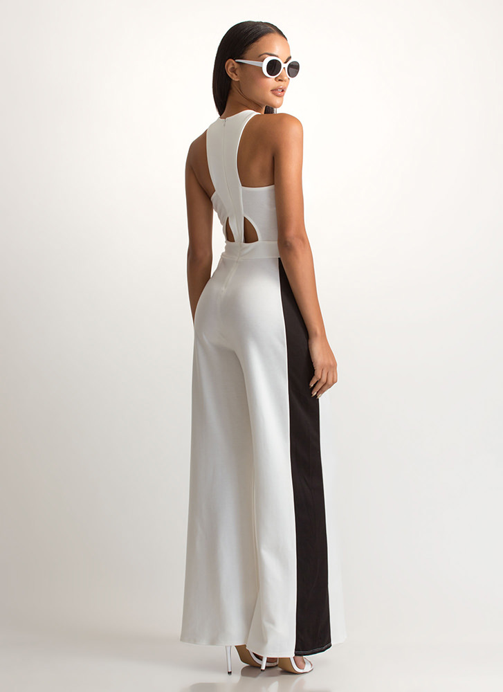 Racer To The Finish Palazzo Jumpsuit IVORYBLACK
