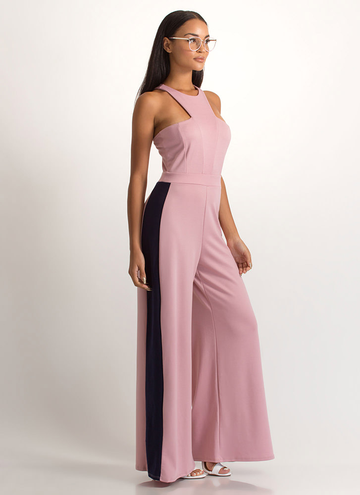 Racer To The Finish Palazzo Jumpsuit MAUVENAVY