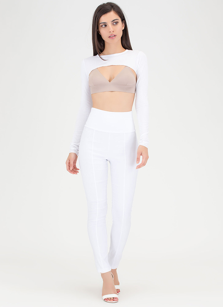 Count Us In Tapered Skinny Pants WHITE