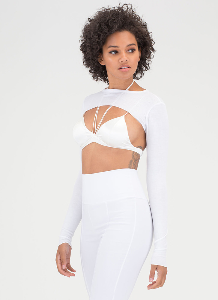 Extreme Measures Rib Knit Crop Top WHITE