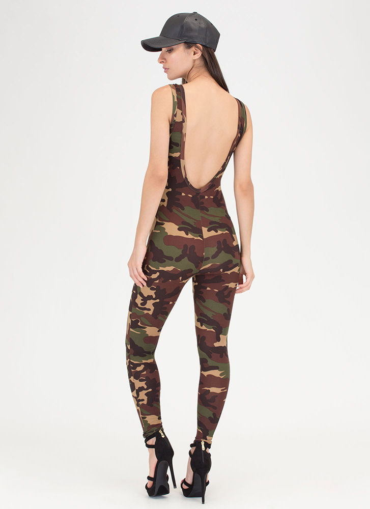 At Ease Plunging Camo Jumpsuit CAMOUFLAGE