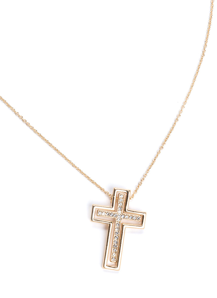 Cross Your Mind Rhinestone Necklace GOLD
