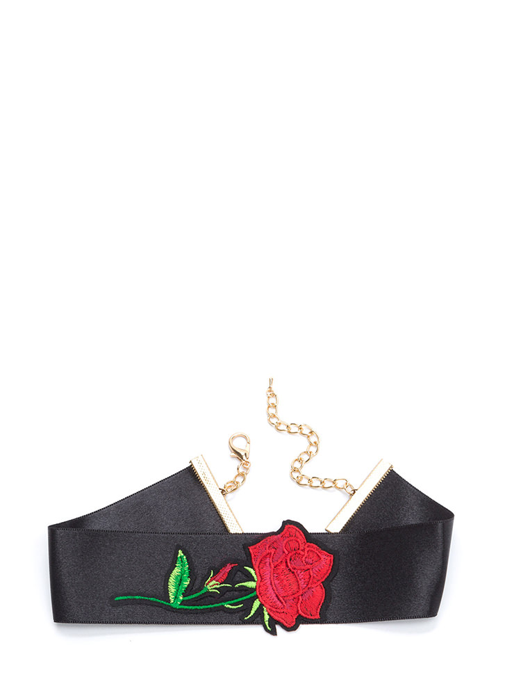 Perfect Rose Embroidered Satin Choker BLACK