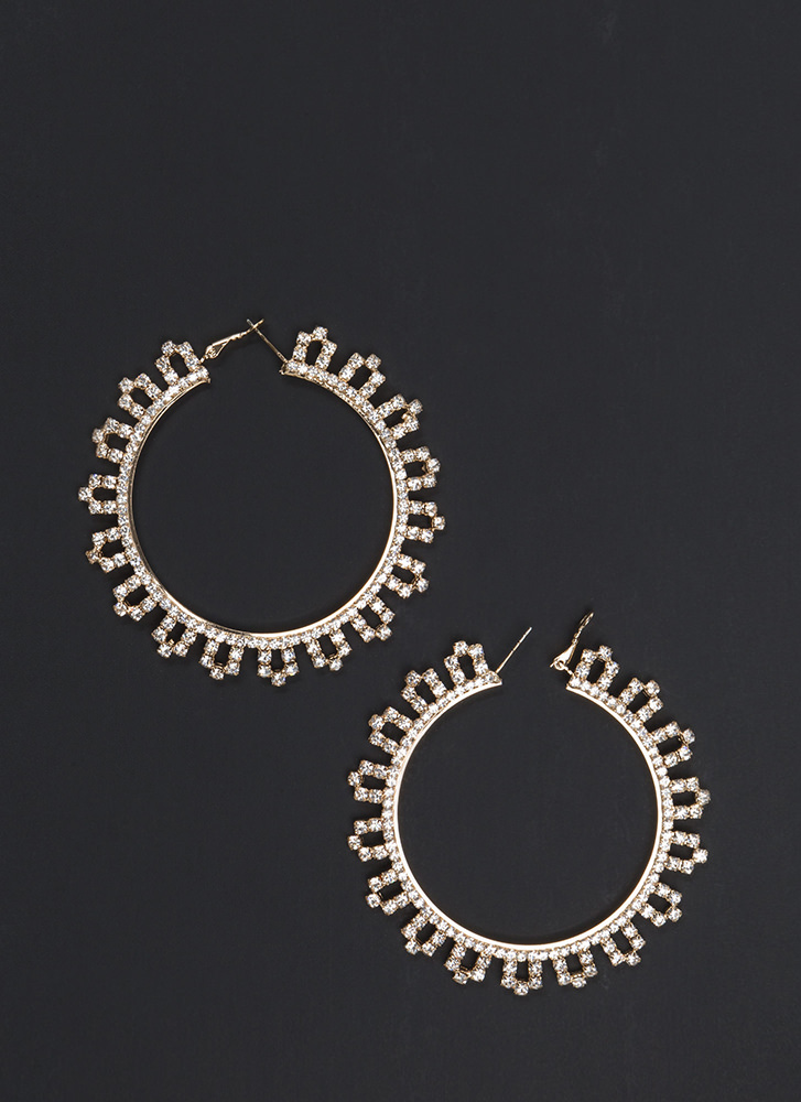 Chic Treatment Rhinestone Hoop Earrings GOLD
