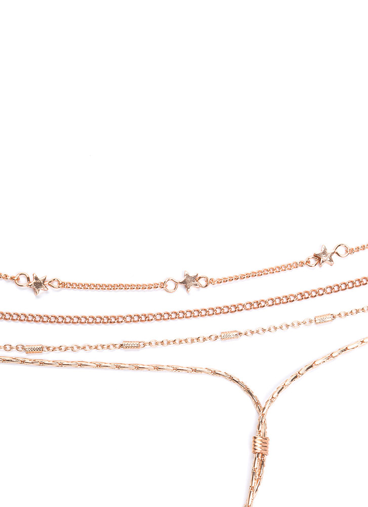 Starstruck Style Layered Chain Necklace ROSEGOLD