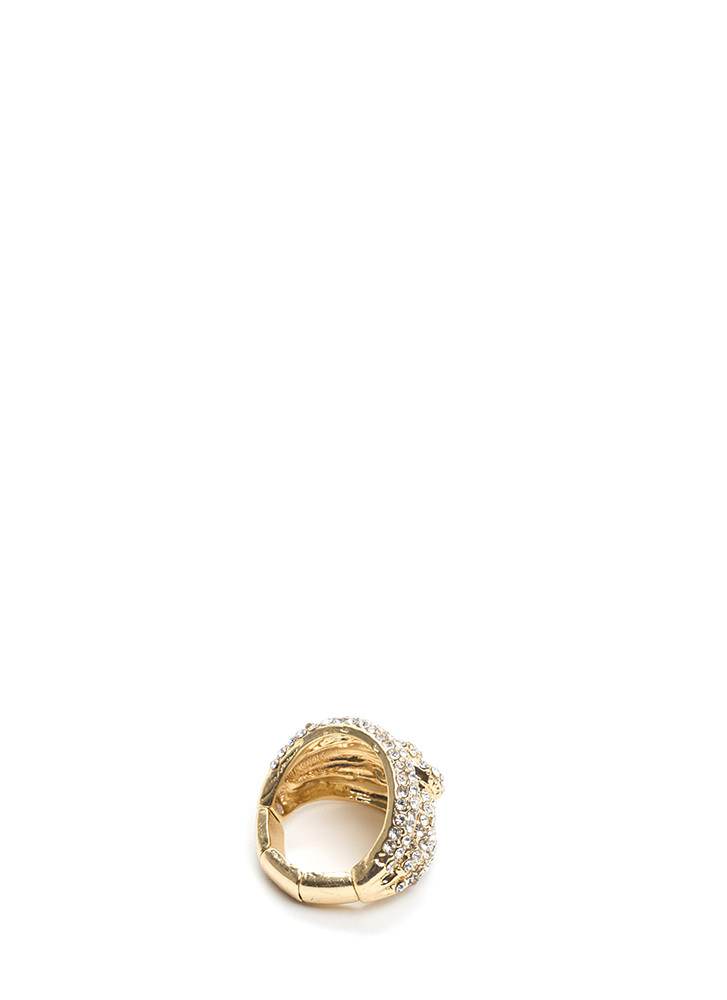Let's Tri Chunky Jeweled Stretchy Ring GOLD