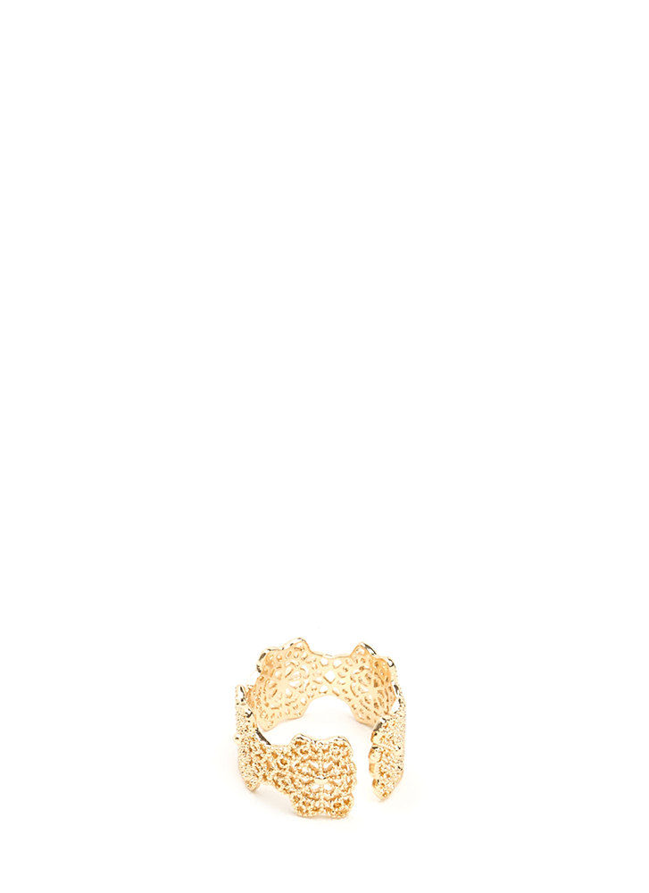 Ornate Touch Cut-Out Ring GOLD