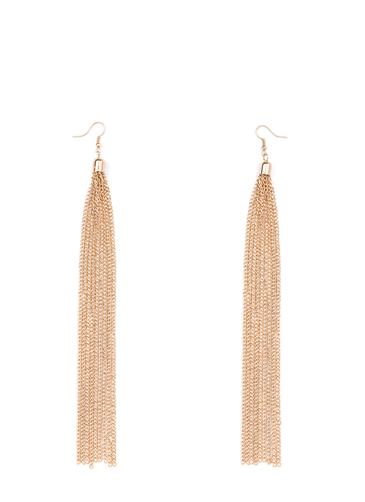 Takes Two To Tassel Chain Earrings GOLD