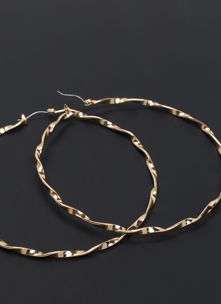 With A Twist Textured Hoop Earrings GOLD