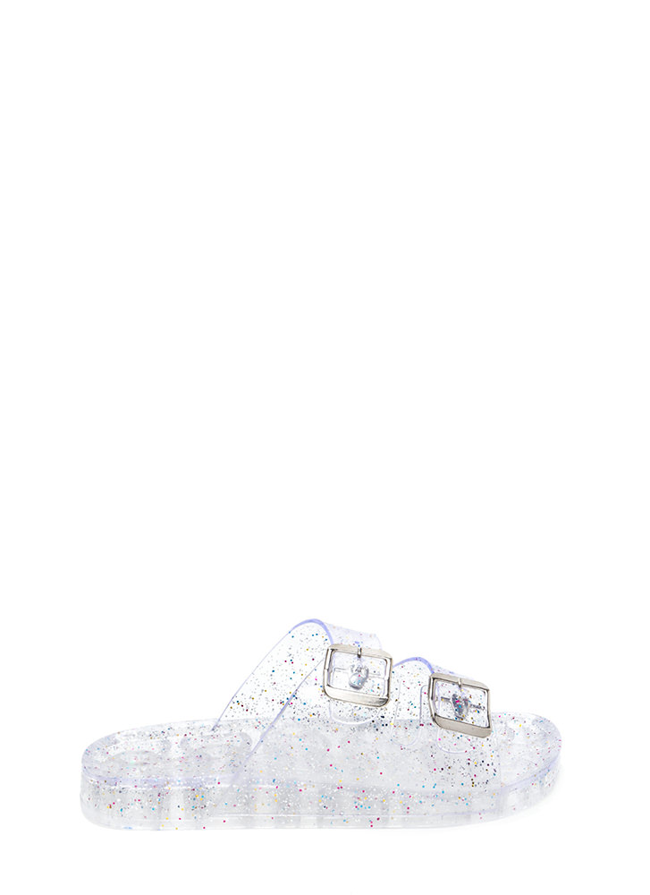 Clearly Glitter Jelly Slide Sandals CLEAR