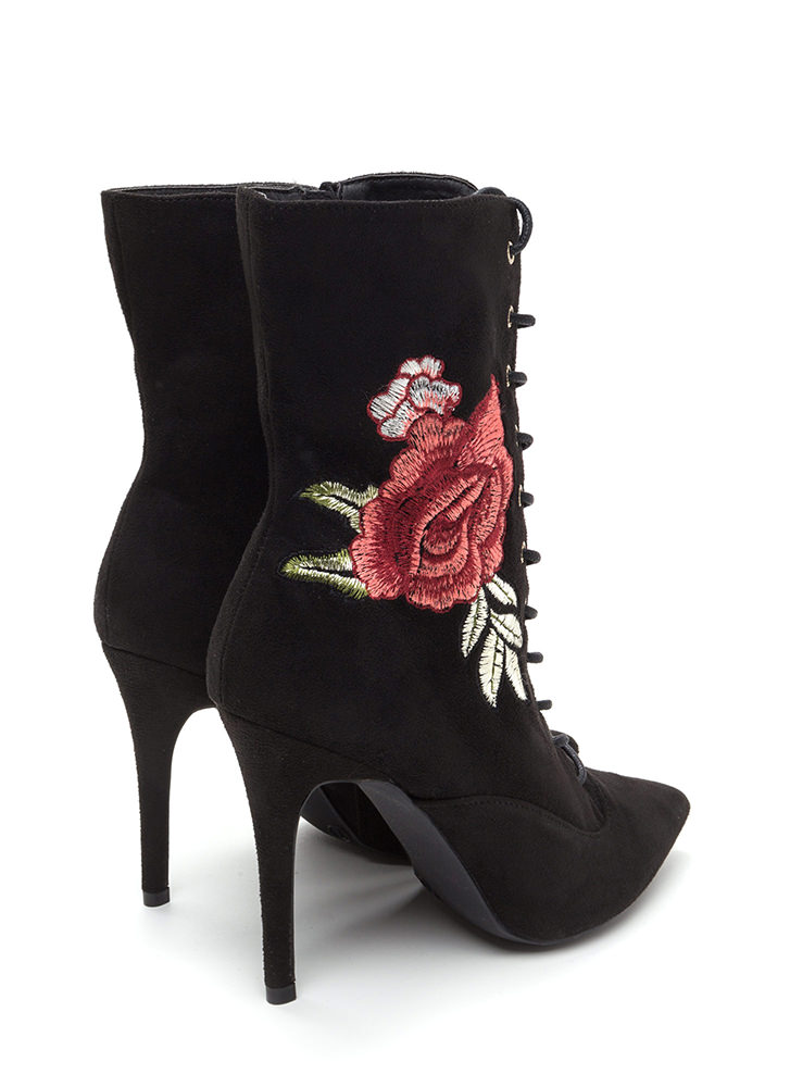 Ka-Bloom Pointy Lace-Up Booties BLACK
