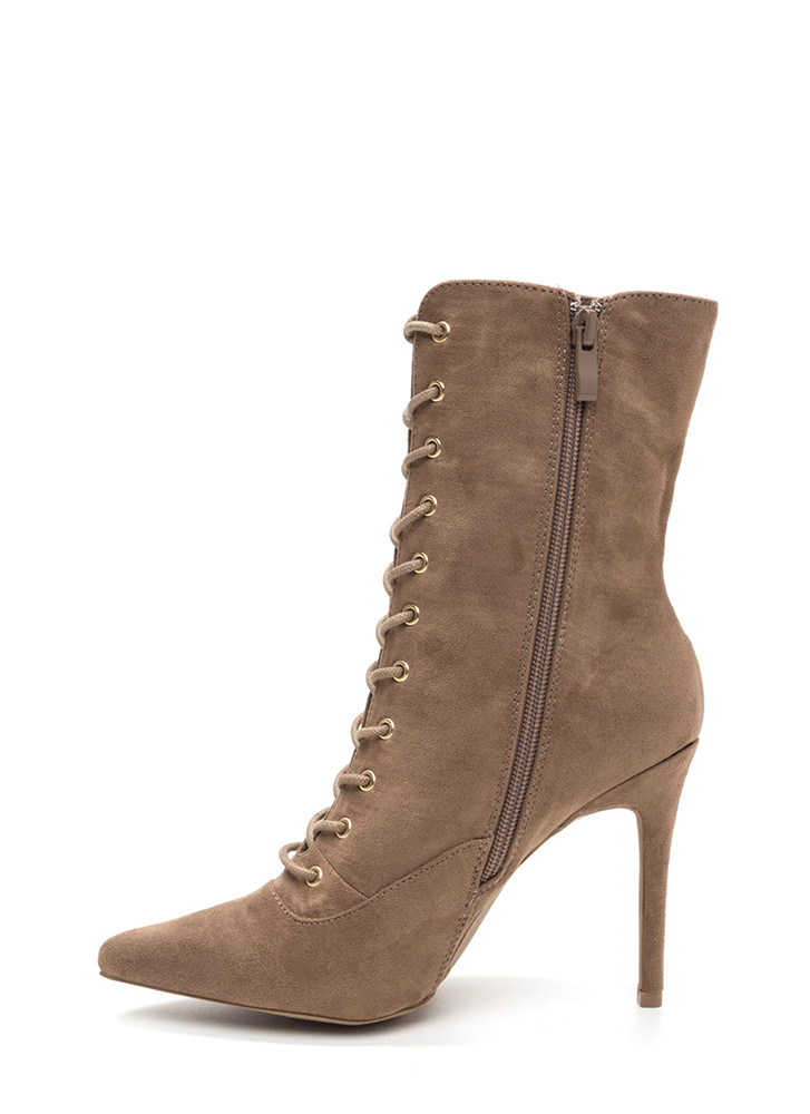 Ka-Bloom Pointy Lace-Up Booties TAUPE