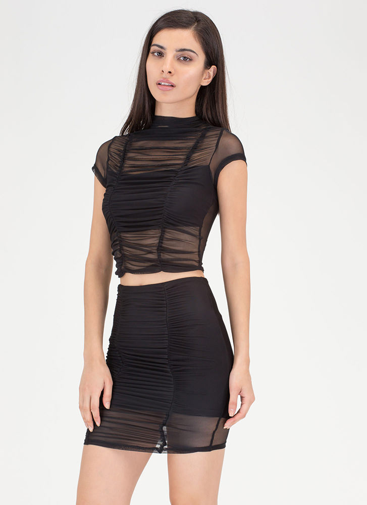 Ruched Into It Mesh Two-Piece Dress BLACK