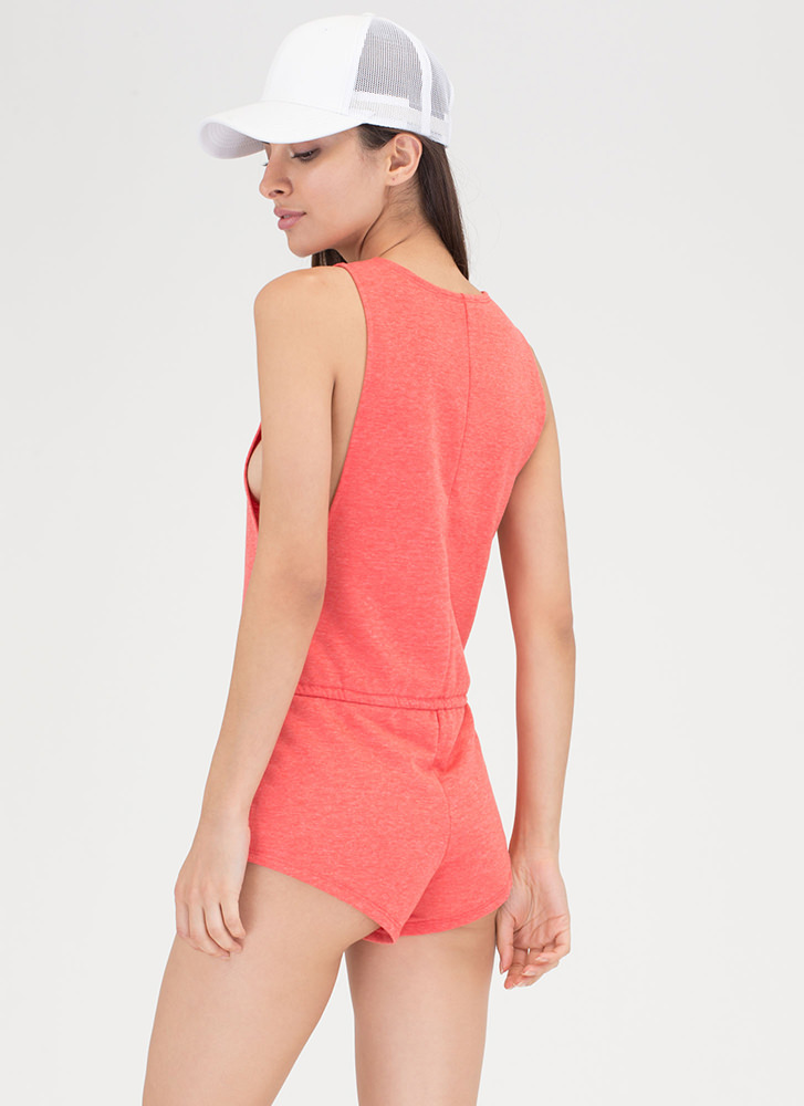 No Sweat Plunging Drawstring Romper CORAL