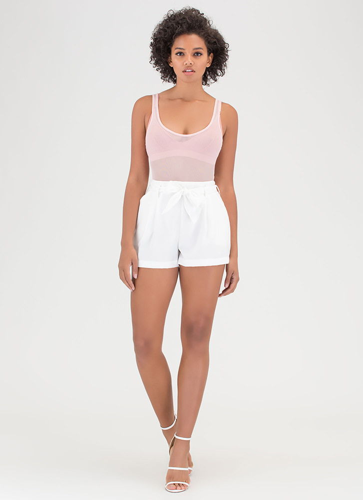 Pleats Please Tied Woven Shorts OFFWHITE