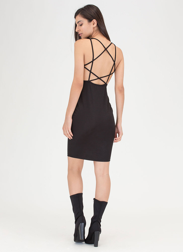 Star Style Strappy Caged Mini Dress BLACK