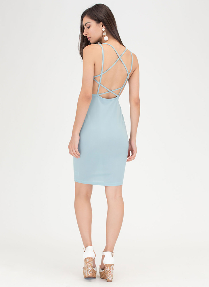 Star Style Strappy Caged Mini Dress BLUE