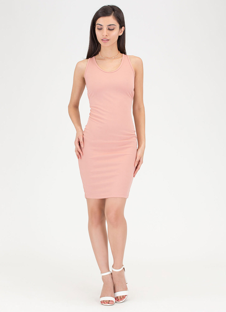 Star Style Strappy Caged Mini Dress DUSTYPINK