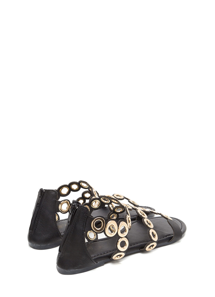 Ring To Light Caged Faux Leather Sandals BLACK