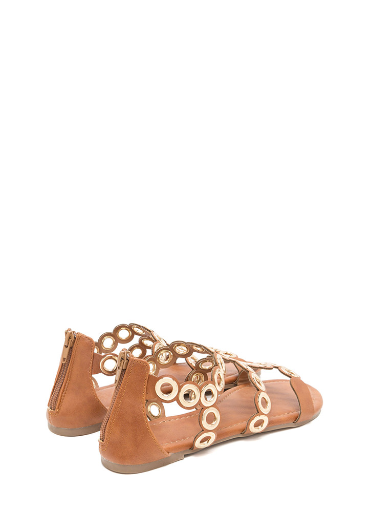 Ring To Light Caged Faux Leather Sandals COGNAC