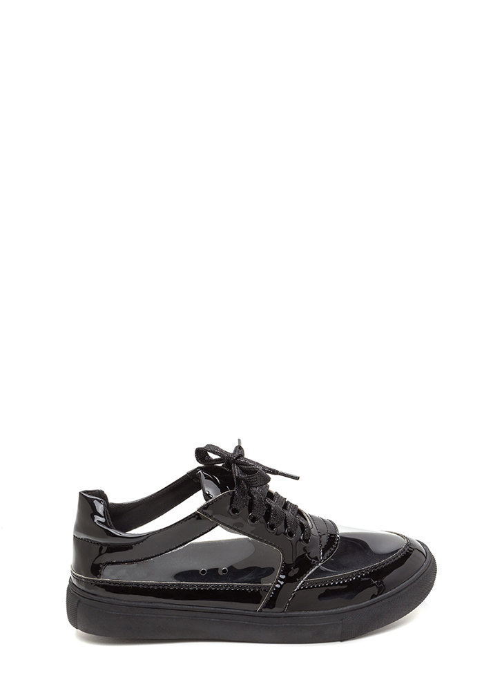 Near 'N Clear Faux Patent Sneakers BLACK