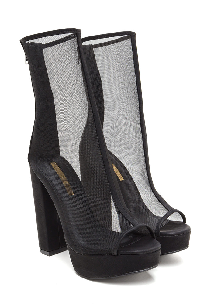 Sheer Goes Nothing Chunky Booties BLACK