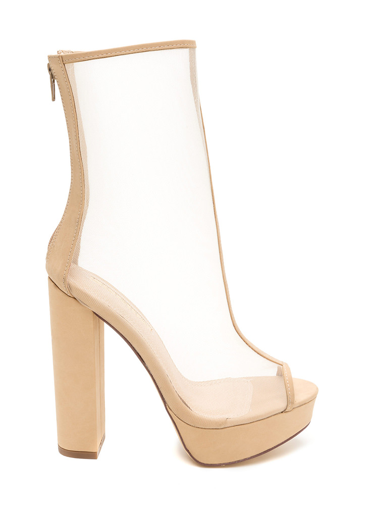 Sheer Goes Nothing Chunky Booties NUDE
