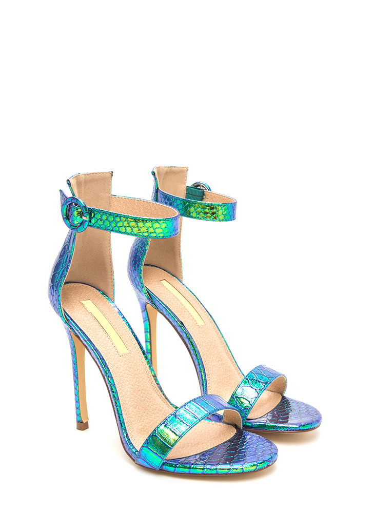 Wild Idea Shiny Snakeskin Heels GREEN