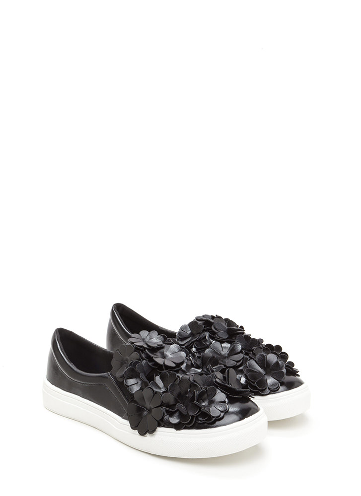 Floral Flow Smooth Slip-On Sneakers BLACK