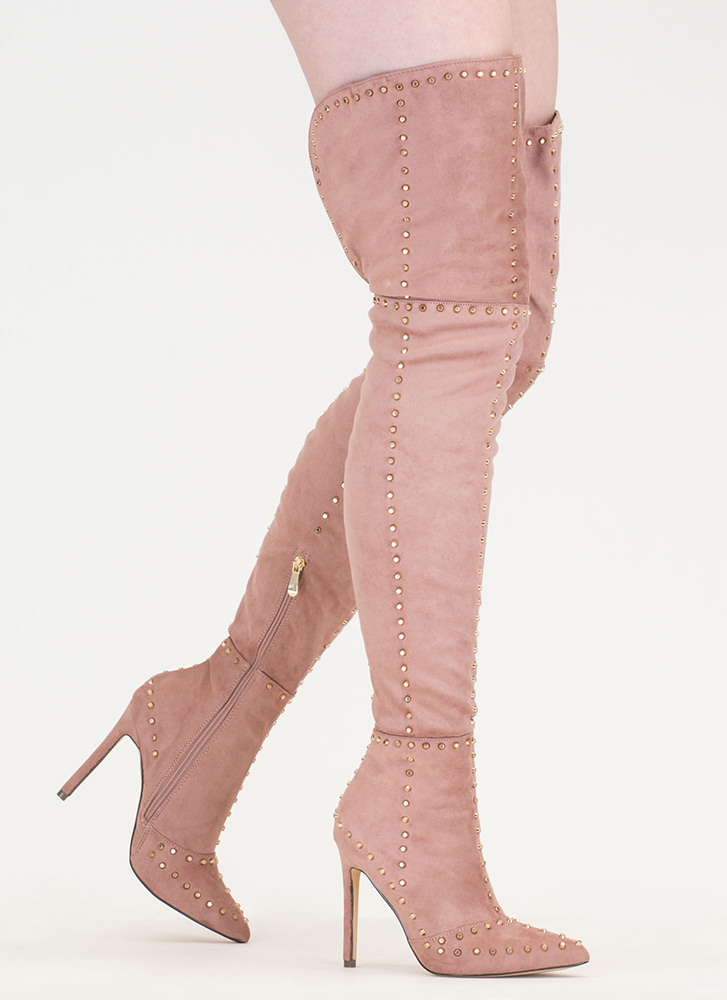 Mile After Mile Studded Thigh-High Boots MAUVE