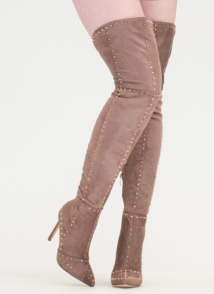 Mile After Mile Studded Thigh-High Boots TAUPE