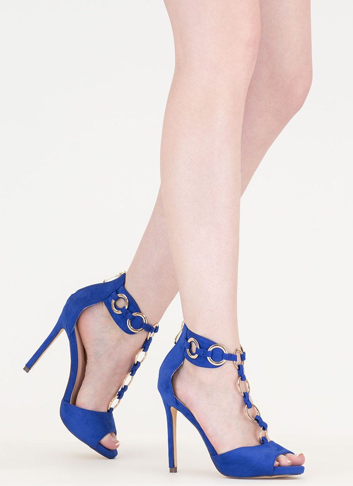 Ring It Together Faux Suede Heels BLUE