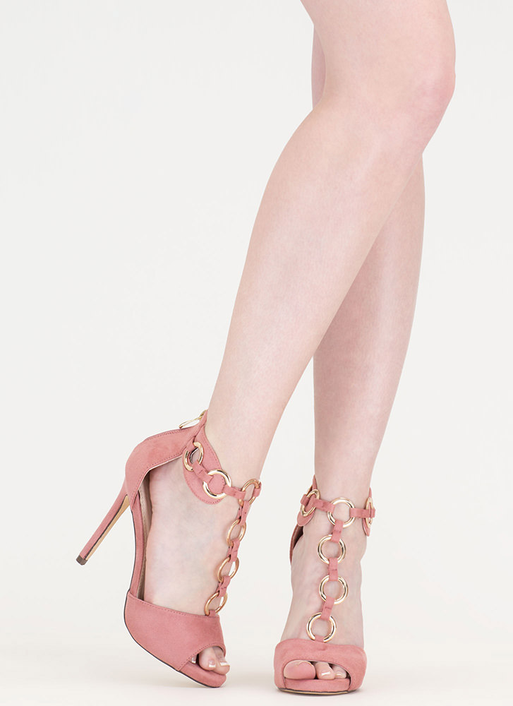 Ring It Together Faux Suede Heels DUSTYPINK