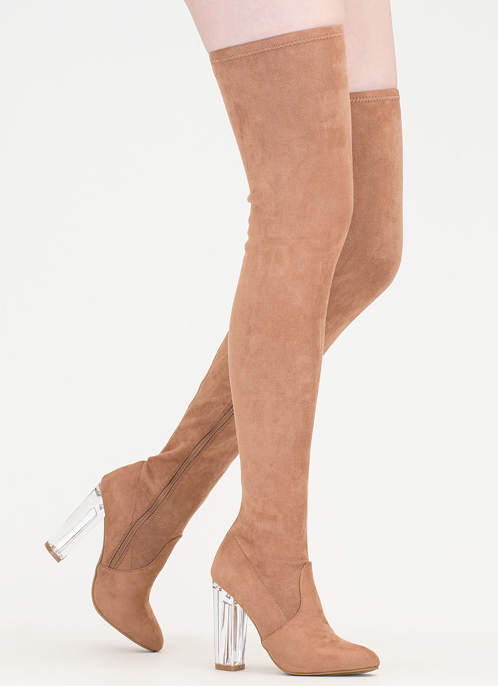 Clearly Cool Chunky Thigh-High Boots CAMEL
