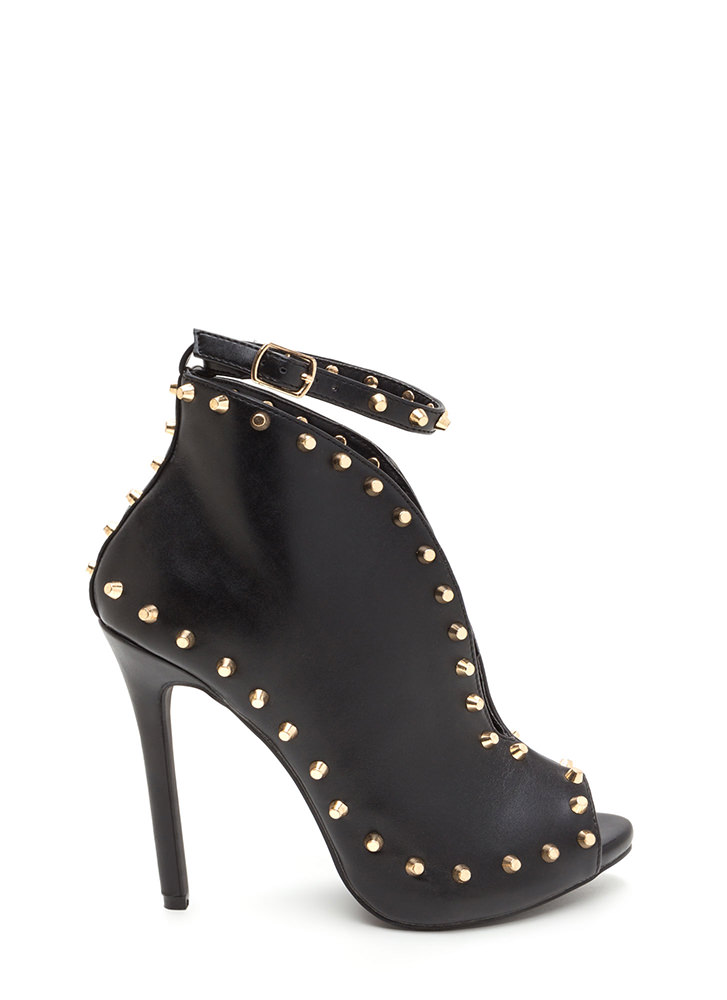 Stud-y Time Plunging Faux Leather Heels BLACK