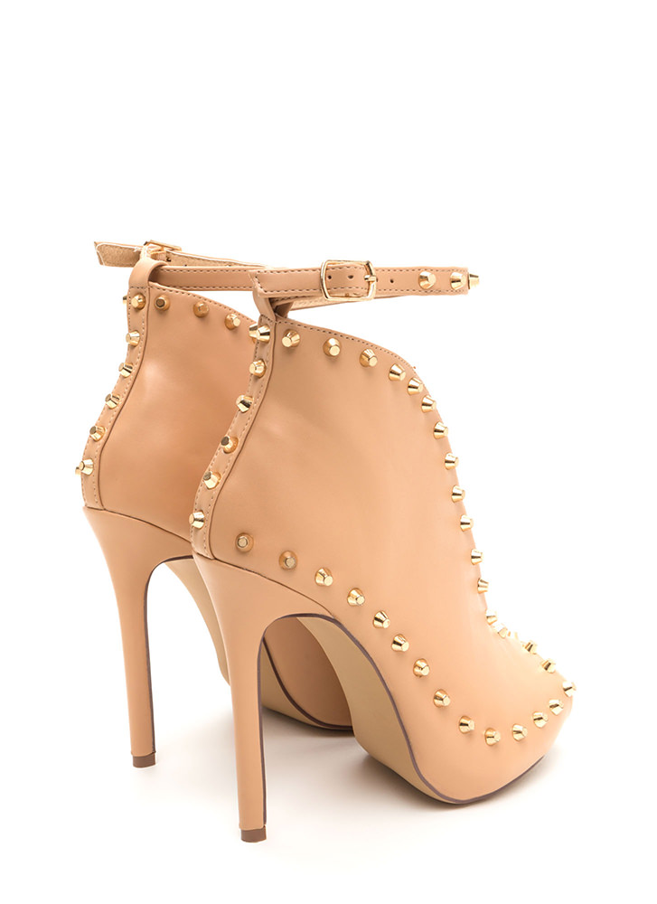 Stud-y Time Plunging Faux Leather Heels NUDE
