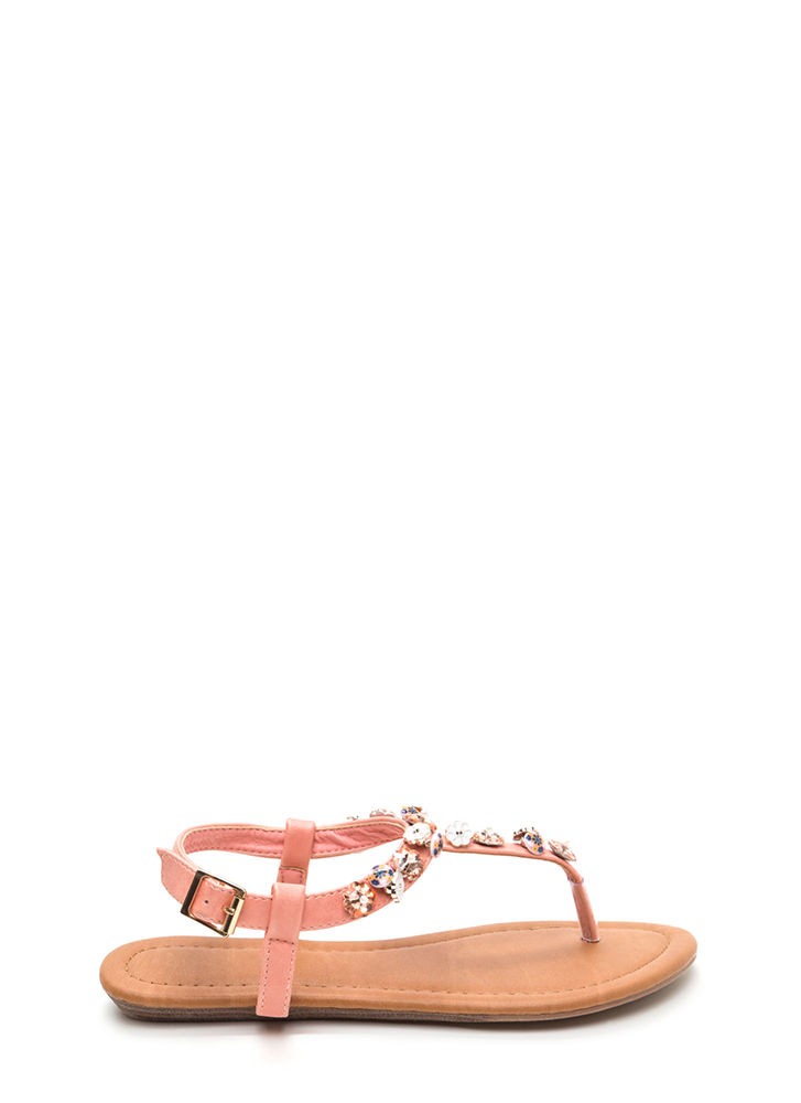Picking Daisies Sparkly T-Strap Sandals PINK
