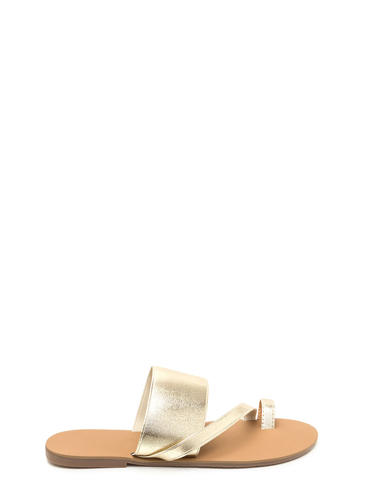 Next Step Strappy Metallic Slide Sandals GOLD
