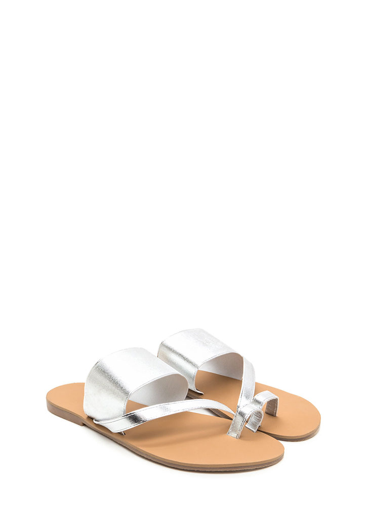 Next Step Strappy Metallic Slide Sandals SILVER
