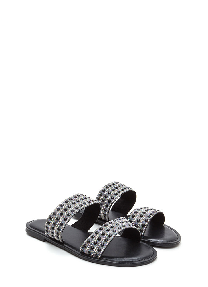 Double The Luxury Strappy Slide Sandals BLACK