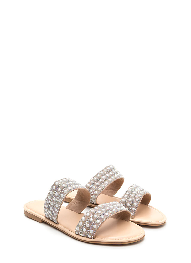 Double The Luxury Strappy Slide Sandals NUDE