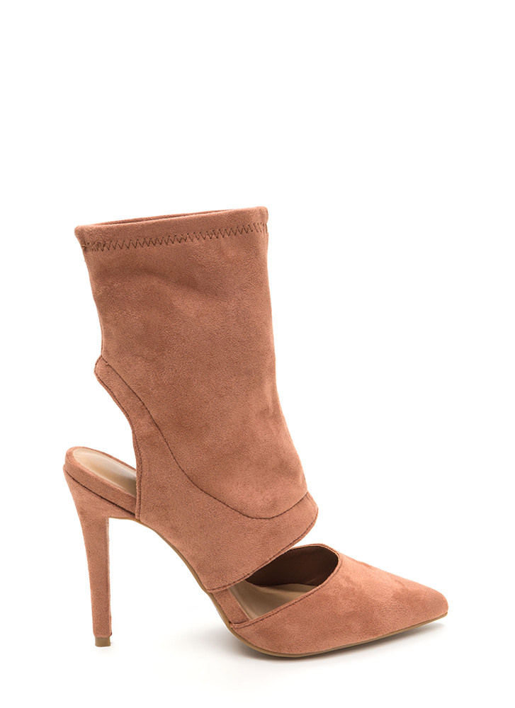 Take A Cut-Out Faux Suede Heels MOCHA