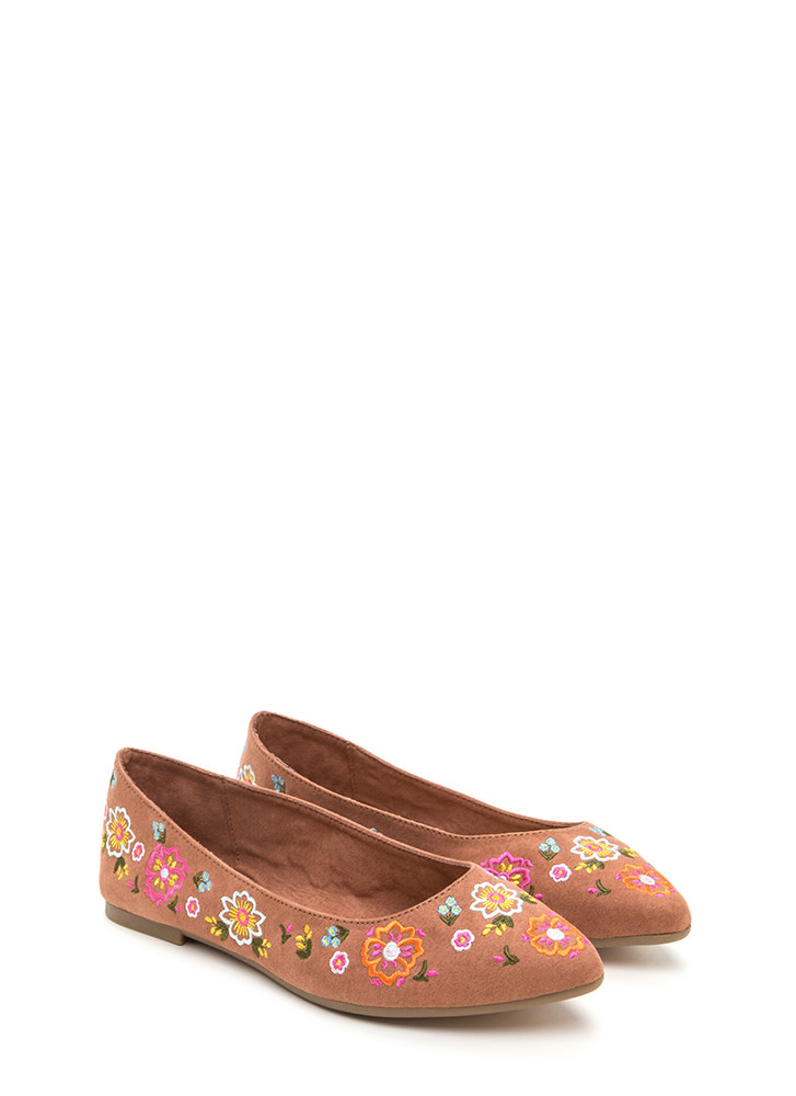 Code Thread Pointy Floral Flats MOCHA