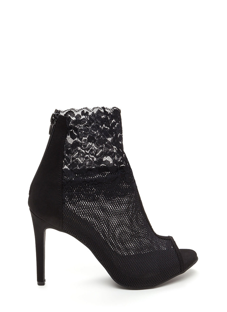 Sheer All Night Mesh 'N Lace Booties BLACK