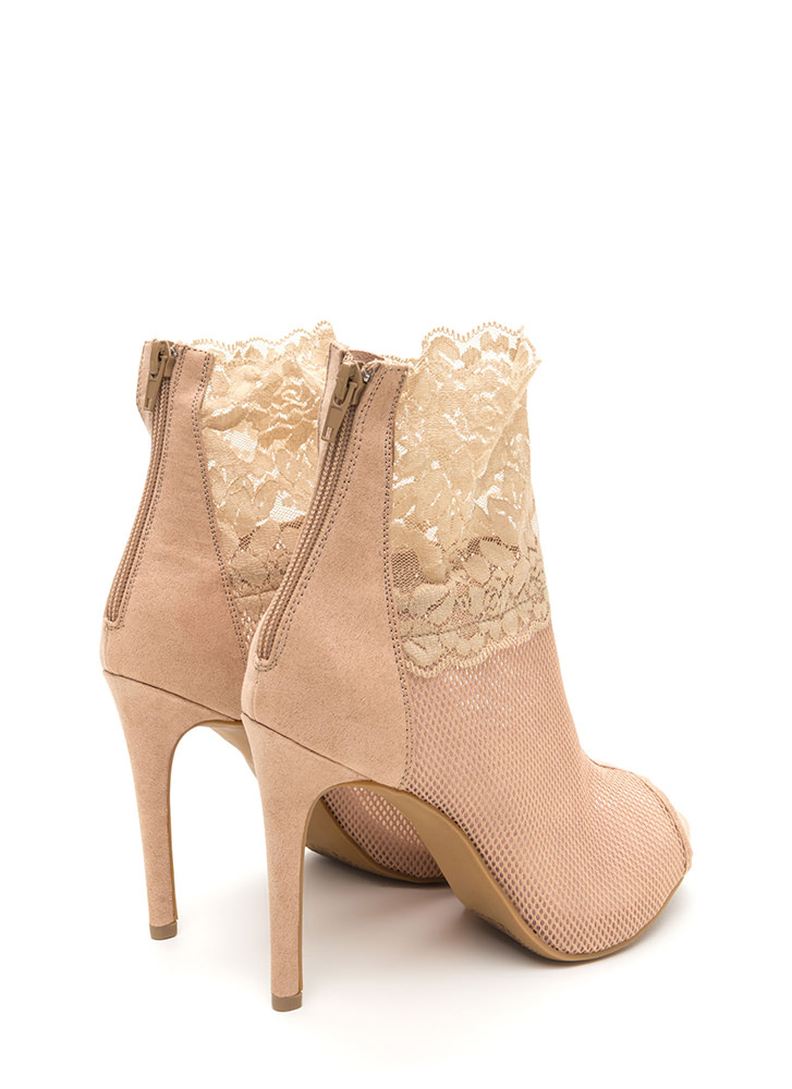 Sheer All Night Mesh 'N Lace Booties NUDE