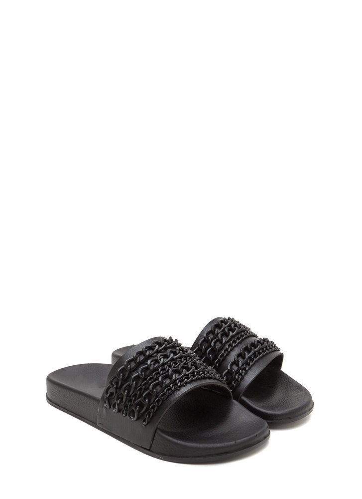 Chain Up Faux Leather Slide Sandals BLACK