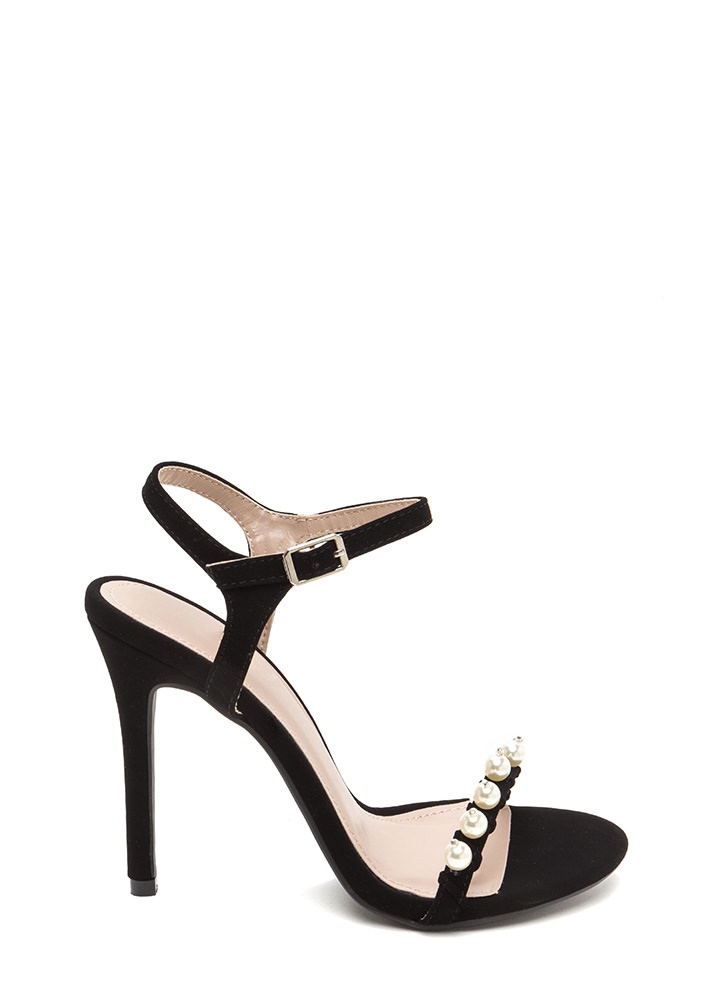 Diving For Pearls Faux Nubuck Heels BLACK