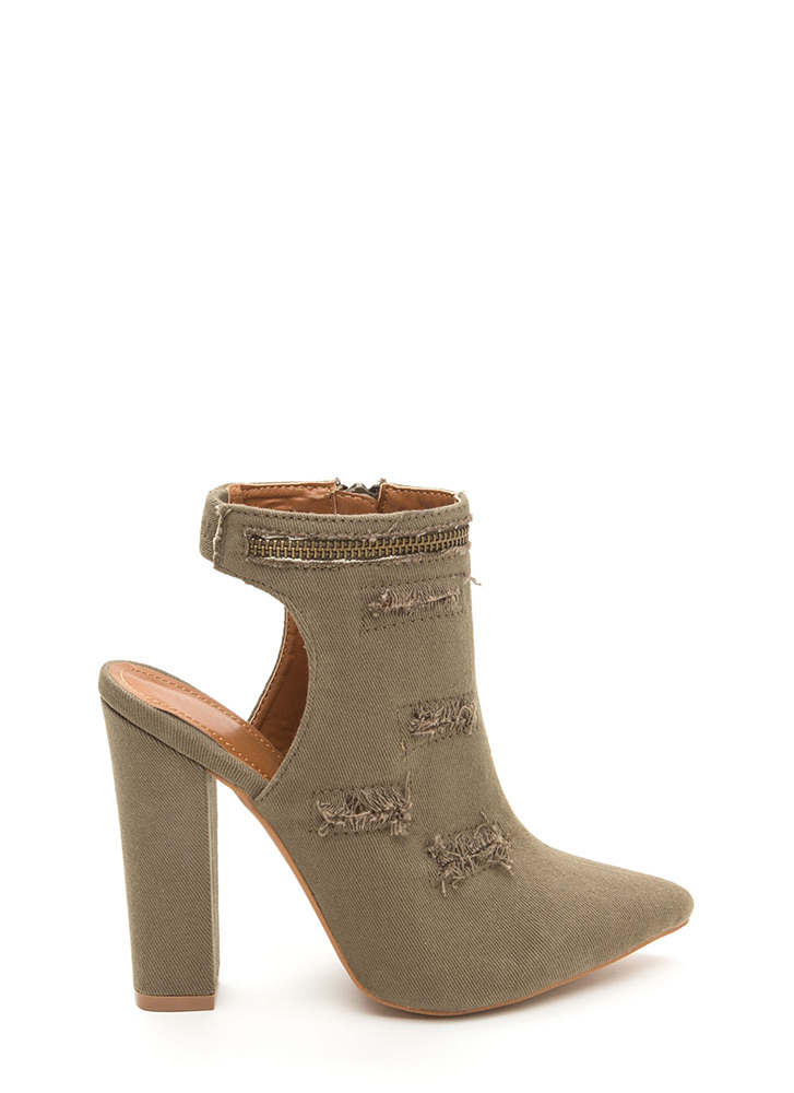 Lift Your Spirits Pointy Frayed Heels KHAKI