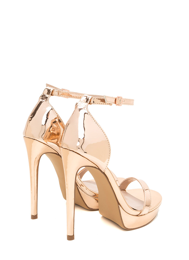 Chic 'N Simple Strappy Metallic Heels ROSEGOLD